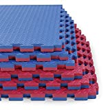 Clevr Reversible 1' Thick Interlocking EVA Gym Foam Floor Mat Tiles (24' x 24'), Protective Flooring for Gym Equipment, 1 Year Limited Warranty, Steel Pattern,12 pcs, 48 sqft, Blue/Red