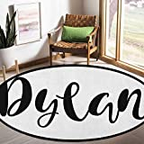 Dylan Round Children's Rug Monochrome Arrangement of Letters Stylized Font Design Hand Drawn Typography 6.5ft Baby Rooms Silky Smooth Fuzzy Kids Play Mats