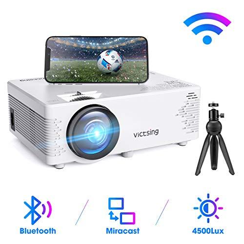 Mini Beamer, VicTsing WiFi Beamer Full HD mit Bluetooth, 4500 Lumen 1080P, Handy Projektor, kompatibel mit iPhone / Android / iPad / Mac / Laptop / PC【2020 Neu】