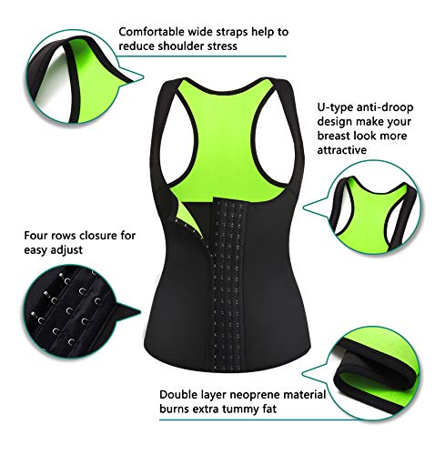 Rolewpy Women Neoprene Waist Trainer Corset Sweat Vest Sauna Body Shaper Cincher Workout Tank Top (Black Sauna Vest, Small (US 4-8)) 2