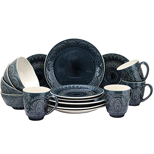 Elama Petra Decorated Round Stoneware Deep Embossed Dinnerware Dish Set, 16 Piece, Dark Navy Blue
