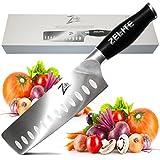 Zelite Infinity Nakiri Chef Knife 7 Inch - Comfort-Pro Series - German High Carbon Stainless Steel - Razor Sharp, Granton Edge