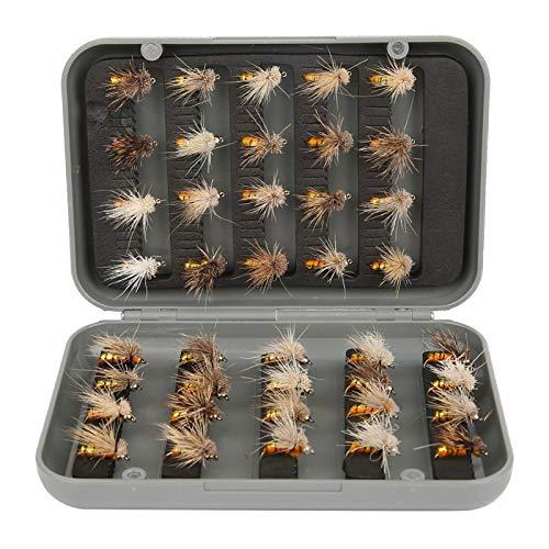 40pcs esche da pesca realistiche con mosche bagnate, con speciali ganci con spine triangolari, set di mosche secche per pesca a mosca, esche artificiali per mosche Esche per insetti con accessorio