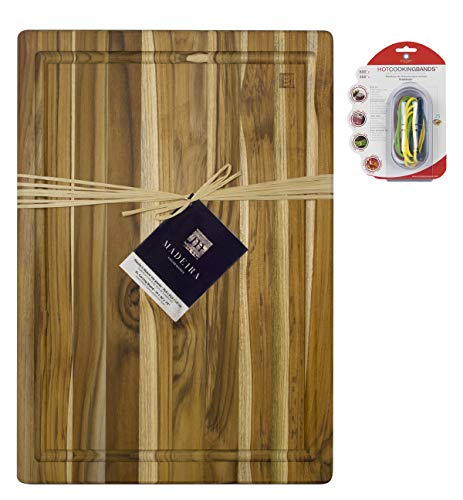 Madeira XL Cutting and Carving Board, Teak Edge-Grain, 20' x 14' with Stretch Cooking Bands