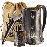 Viking Culture Ox Horn Mug, Shot Glass, and Bottle Opener (3 Pc. Set) Authentic 16-oz. Ale, Mead, and Beer Tankard | Vintage Stein with Handle | Custom Intricate Design - Polished Finish