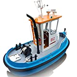 ElevenY New 1:18 Pine Mini 270130190m RC Tugboat Rescue ABS Wooden Boat Model Ship DIY Tools Kit DIY RC Boat for Kids Adults Hobby Toys Xmas Gift
