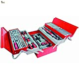 BricoLoco Caja herramientas completa. Kit surtido mantenimiento. Calidad profesional cromo vanadio. Maletín metálica 5 departamentos con organizador. 99 PIEZAS.
