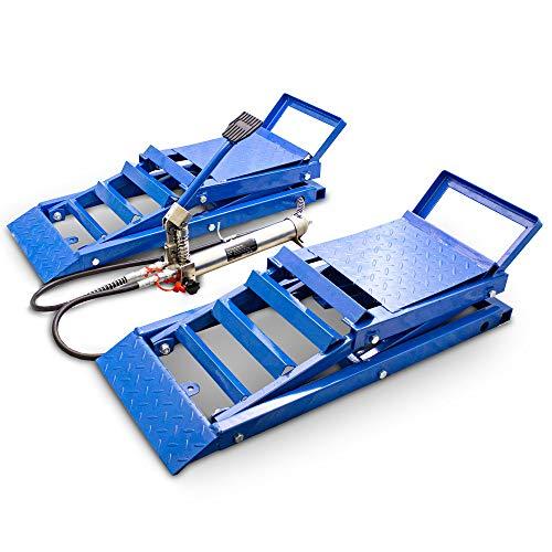 BITUXX® 2 Stück hydraulik Auto PKW KFZ Auffahrrampen Set mit Wagenheber hydraulisch Höhenverstellbar Wartungsrampe Hebebühne Rampe Auffahrrampe Auffahrbock