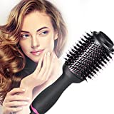 Hot Air Brush,Hair Dryer Brush, Hair Dryer & Volumizer, Styler for Straightening, Curling, Salon Negative Ion Ceramic Electric Blow Dryer Rotating Straightener Curl Brush
