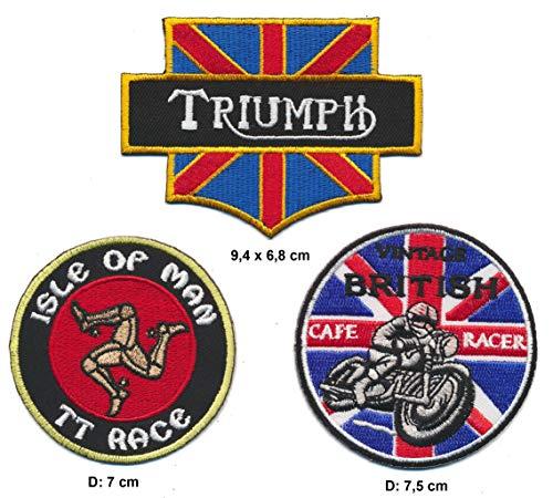 Racing Classics Isle of Man Cafe Racer Triumph Parche para Planchar Parches 3Pieza Motocicleta Biker Inglaterra UK