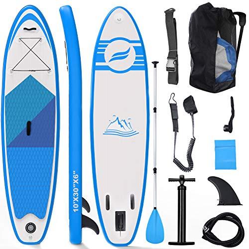 Fixget Tavola SUP Gonfiabile, Tavola Surf Paddle Board 300x76x15cm, Carico di 150 kg con Pompa ad Aria, Pagaia Regolabile, Linea di Sicurezza… (Tipo A Blu)
