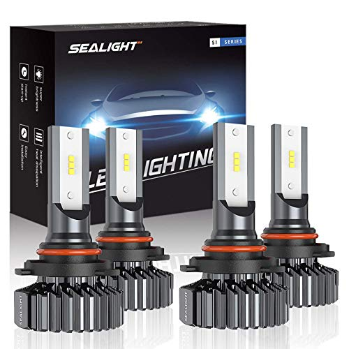 SEALIGHT 9006/HB4 9005/HB3 LED Headlight Bulbs High Low Beam, Combo Package CSP Led Chips Hi/Lo lights - 13000lm 6000K White,Pack of 4