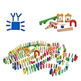 Jamohom 200 Pieces Wooden Dominoes Set Racing Game Building Blocks Alphabet and Numbers Learning Educational Toy for Kids