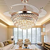 BIGBANBAN Bling Crystal Chandelier Fan, Retractable Ceiling Fans,42 Inch Ceiling Fan with 3 Color Change LED Light and Remote for Bedroom/Living Room/Dining Room (Rose Gold)