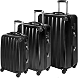 Juego de múltiples capas de policarbonato 3 Conjuntos de maleta Maleta de barra Maleta Telescópica,Black