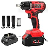 "Cordless Impact Wrench with 1/2"" Chuck, Max Torque 405 ft.lbs (550N.m), Powerful Brushless Motor, 3.0A Li-ion Battery with Fast Charger, Carrying Case & 1pc 22mm Socket, Autojare B1803"