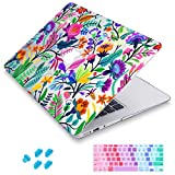 Maychen MacBook Air 13 inch Case 3 in 1, 3D Printing Hard Shell Light Weight Case for MacBook Air 13' Model A1369 & A1466 (Colorful Flowers and Tropic Leaves)