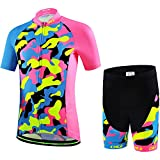 Ateid Children Boys' Girls' Cycling Jersey Set Short Sleeve with 3D Padded Shorts Camouflage Pink 9-11 Years