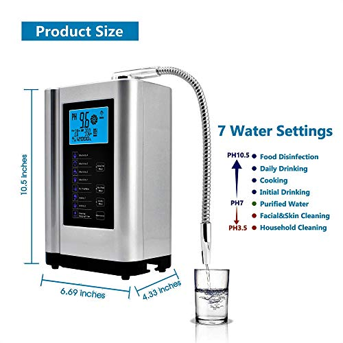 Product Image 3: Alkaline Water Ionizer, Up to -500mV ORP, PH 3.5-10.5 Water Purifier Machine, Home Alkaline Water Filter with 7 Water Settings, 6000 Liters Per Filter,Auto-Cleaning,Intelligent Voice (Silver)