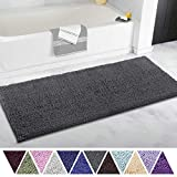 ITSOFT Non Slip Shaggy Chenille Soft Microfibers Runner Large Bath Mat for Bathroom Rug Water Absorbent Carpet, Machine Washable, 21 x 47 Inches Charcoal Gray