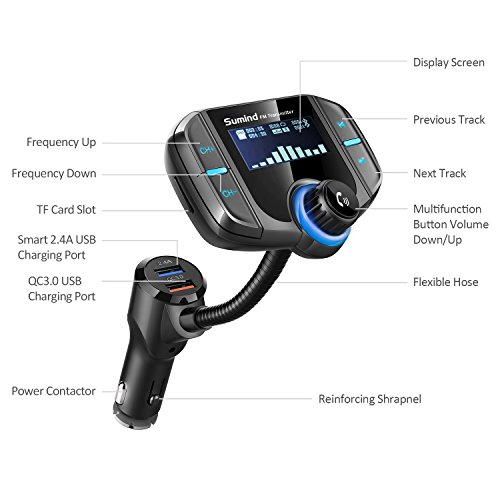 Product Image 3: (Upgraded Version) Bluetooth FM Transmitter, Sumind Wireless Radio Adapter Hands-Free Car Kit with 1.7 Inch Display, QC3.0 and Smart 2.4A Dual USB Ports, AUX Input/Output, TF Card Mp3 Player