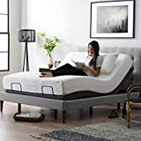 LUCID L300 Bed Base-5 Minute Assembly-Dual USB Charging Stations-Head and Foot Incline-Wireless Remote Adjustable, Queen, Charcoal