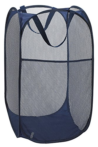 Handy Laundry Collapsible Mesh Foldable Hamper 14' x 14' x 24' Navy Blue