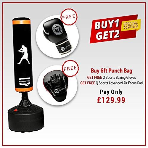 Q Sports - Saco de boxeo de pie de 1,82 m, resistente, para entrenamiento de gimnasio y fitness