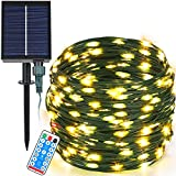 ZOPTIL Outdoor Solar Powered LED Waterproof Christmas String Lights ,UL Certified 105Ft 300 LED 8 Modes Fairy Lights with Remote Controller for Outside Tree,Xmas Decoration,Halloween(Warm White)