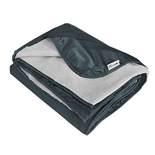 XL Plush Fleece Outdoor Stadium Rainproof and Windproof Picnic Blanket - Camp Blanket (Slate Gray)