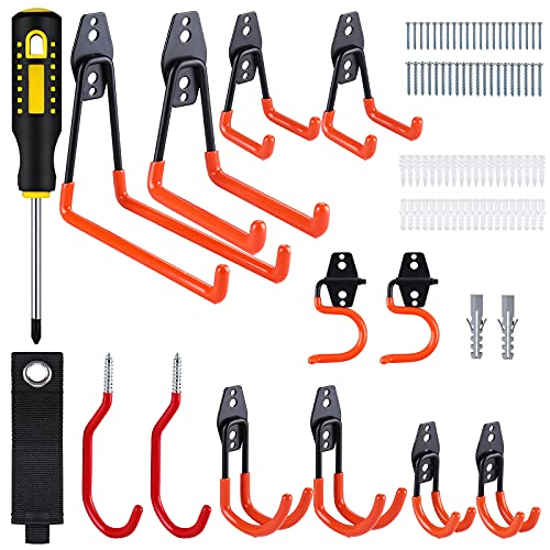 Vastar Garage Hook Heavy Duty, 13 Pack Multi-Model Garage Storage Hook and Screwdriver for Wall Hanging Hooks, Anti-Slip Tool Hangers, Utility Hooks for Bike, Ladders, Hanging Sheds and Other Tools