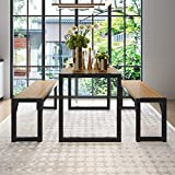 Decok 3-Piece 48in Dining Table Set with Two 47in Benches, Kitchen Table Set for 4-6 Persons,Iron Frame and Wooden Top, Walnut and Oak