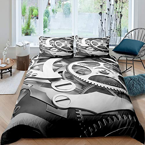 Loussiesd Industrial Bedding Set Clock Theme Gears Duvet Cover Set for Boys Man Steampunk Style Comforter Cover Mechanical Gearwheel Quilt Cover with 2 Pillowcase 3Pcs Double Size