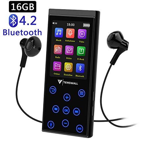 16GB Bluetooth MP3 Player, tragbarer störungsfreier HiFi Musikplayer mit FM-Radio/Voice-Recorder, 2.4 Zoll TFT Bildschirm, Speicher Erweiterbar bis 128 GB (Kopfhörer im Lieferumfang enthalten)
