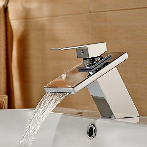 Auralum® Armatur Aus Messing und Glas Wasserhahn Waschtisch Spüle Waschtischarmatur für Bad Küchen