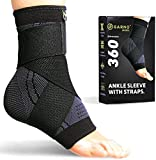 GARNO Ankle Brace Compression Sleeve with Adjustable Straps, Arch Support & Foot Stabilizer, Elastic Wrap for...