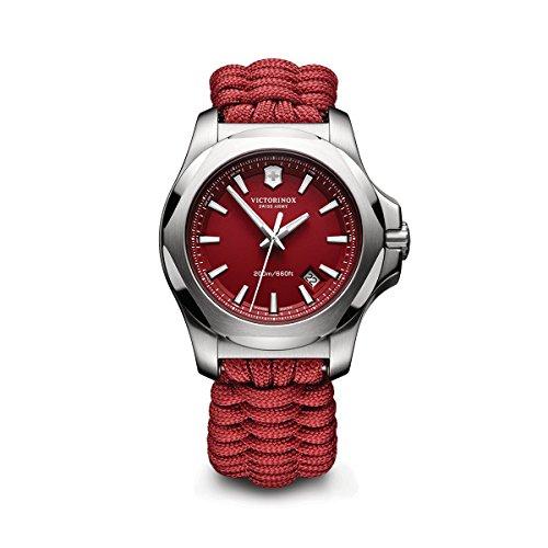 Victorinox Swiss Army Men's I.N.O.X. Stainless Steel Swiss-Quartz Watch with Nylon Strap, red, 21 (Model: 241744.1)