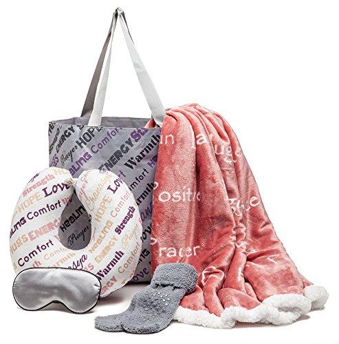 Chanasya 5-Piece Warm Hugs Positive Energy Healing Thoughts Combo Gift Pack Throw Blanket - Comfort Caring Message, Neck Pillow, Eye Mask, Tote Bag, Socks - for Women Men Cancer Hospital - Rose Tan