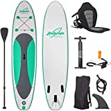 Jiubenju Inflatable Stand Up Paddle Board All Around and Kayak Seat Set Thick Non-Slip Deck with Premium SUP Accessories Aluminum Oar Pump