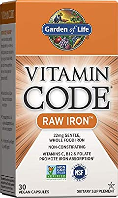 BOOSTED IRON ABSORPTION: Vitamin Code RAW iron pills contain 22mg of gentle whole food iron and whole food vitamins C, B-12, and folate to support iron absorption and utilization PROBIOTICS AND ENZYMES: Our vegan iron supplement includes a RAW probio...