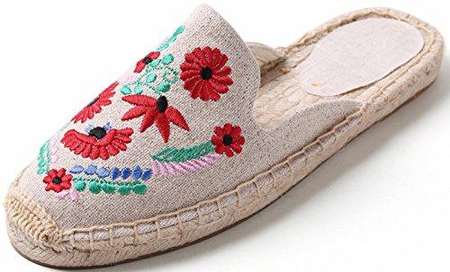 SimpleC Alpargatas Planas Bordadas para Mujer Fancy Slip-On Mule Blanco Flor Colorida36