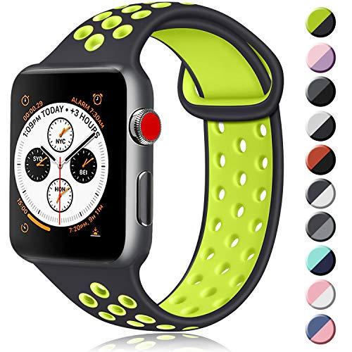 ATUP コンパチブル Apple Watch バンド 42mm 38mm 44mm 40mm、ソフトシリコン交換用リストバンド iWatch Se...