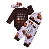 Baby Boy Girl Thanksgiving Outfit Letters Print Bodysuit+Turkey Pants and Hat Headband Clothes Set (Brown(4Pcs), 0-6 Months)