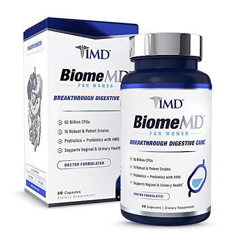 1MD BiomeMD Probiotics for Women - 62 Billion CFUs, 16 Strains with Prebiotics with HMO | Supports Vaginal & Urinary Health - Doctor-Formulated | 30 Capsules 1