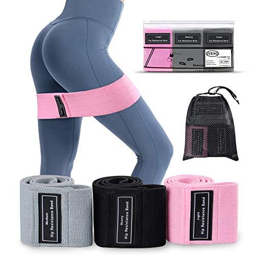JTENG 3pcs Elastici Fitness, Bande Elastiche di Resistenza Fasce Elastiche Fitness in Tessuto Antiscivoli con 3 Livelli di Resistenza,per Esercizi Glutei, Yoga, Pilates, Palestra