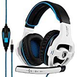 Gaming Headset SADES SA810S Stereo Over-Ear Noise Isolation Bass Gaming Headphones with Microphone for PS4 Laptop PC Mac Computer Smart Phones -White
