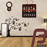 BHARAT FURNISH HOUSE-Wooden Wall Hanging Design Bar | Bar Cabinets for Home | Mini Bar for Home | Solid Wood Make Wine Storage Cabinet with Glass Hanging Space-Mahogany Finish