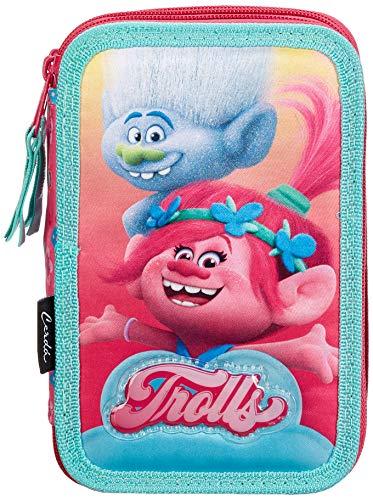Cerd DreamWorks Trolls 2700000227, Astuccio 3 Scomparti, Bambina, 19cm, 43 Accessori Scuola, Poppy