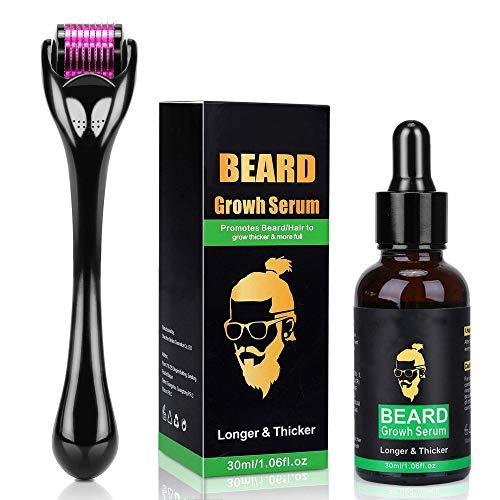 DermaRoller per la crescita della barba + siero per la crescita della barba – Stimola la crescita della barba e dei capelli – Rullo da barba da 0,5 mm per gli uomini – Kit per la cura della barba