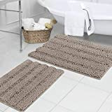 Bath Mats for Bathroom Non Slip Ultra Thick and Soft Chenille Plush Striped Floor Mats Bath Rugs Set, Microfiber Door Mats for Living Room/Kitchen (20' x 32'/17' x 24'-Pack 2 Taupe)